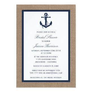 """Ancla náutica de los azules marinos en ducha invitación 5"""" x 7"""""""