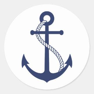 Ancla náutica de los azules marinos pegatina redonda