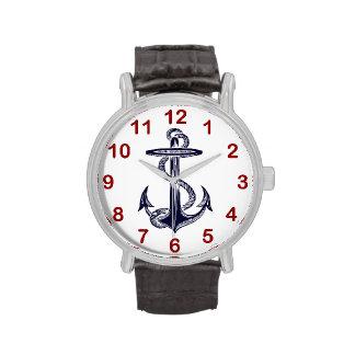 Ancla náutica de los azules marinos reloj