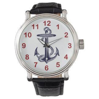 Ancla náutica de los azules marinos relojes de pulsera