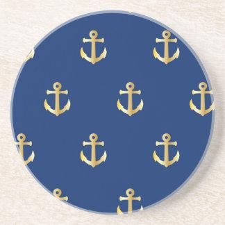 Ancla náutica de moda - oro azul posavasos de arenisca