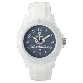 Ancla náutica del azul marino/blanca reloj