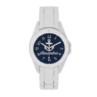Ancla náutica del azul marino/blanca reloj persona