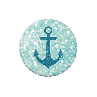 Ancla náutica del brillo de Bokeh de la aguamarina