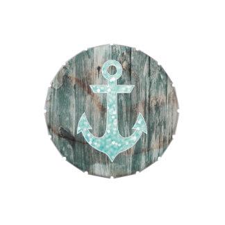 Ancla náutica del brillo de Bokeh de la aguamarina Latas De Caramelos