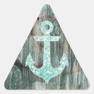Ancla náutica del brillo de Bokeh de la aguamarina Pegatina Triangular