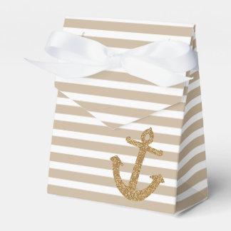 Ancla náutica del brillo del oro cajas para regalos de fiestas