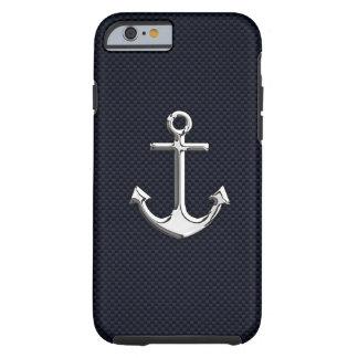 Ancla náutica del cromo en la impresión de la funda para iPhone 6 tough