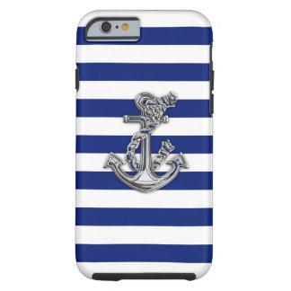 Ancla náutica del cromo en la impresión de las funda de iPhone 6 tough