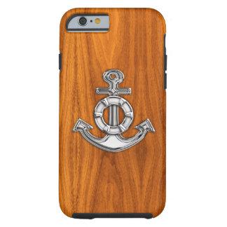 Ancla náutica del cromo en la impresión de madera funda para iPhone 6 tough