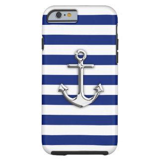Ancla náutica del cromo en rayas de la marina de funda para iPhone 6 tough