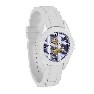 ancla náutica del modelo de muy buen gusto de los relojes de pulsera