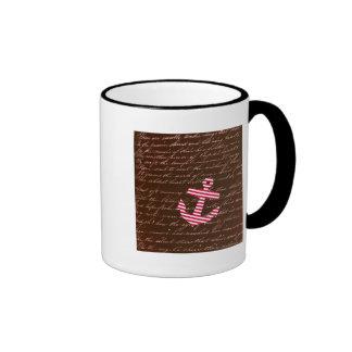 Ancla náutica del rojo de la raya tazas