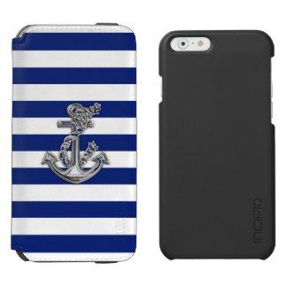 Ancla náutica del tema en diseño de las rayas funda billetera para iPhone 6 watson