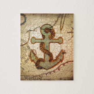 Ancla náutica del vintage del mapa de la playa puzzle