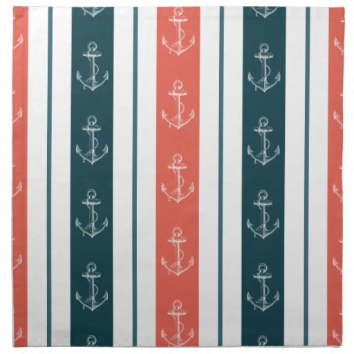 Ancla náutica del vintage en modelo de las rayas servilletas