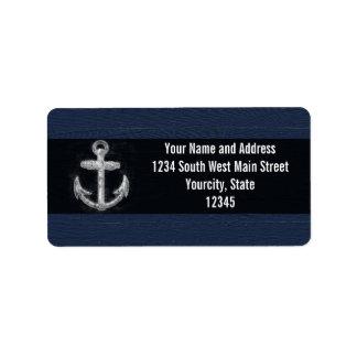 Ancla náutica del vintage etiqueta de dirección