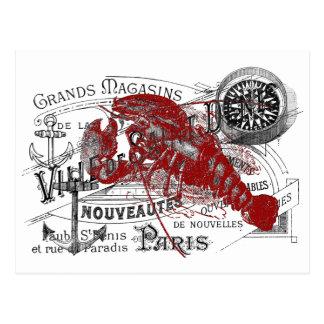 Ancla náutica del vintage, langosta, collage del tarjeta postal
