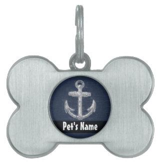 Ancla náutica del vintage placa de nombre de mascota