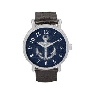 Ancla náutica del vintage reloj de mano