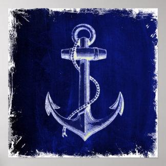 ancla náutica elegante lamentable rústica de la póster