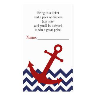 Ancla náutica en boleto de la rifa del pañal de tarjeta de visita