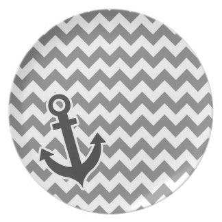 Ancla náutica en Chevron gris oscuro Plato De Comida