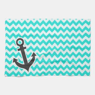 Ancla náutica en el color Chevron de la aguamarina Toallas De Cocina