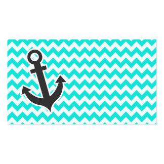 Ancla náutica en el color Chevron de la aguamarina Tarjetas De Visita