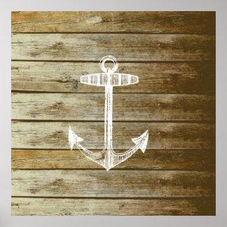 Ancla náutica en el gráfico de madera poster