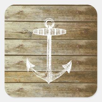 Ancla náutica en el gráfico de madera calcomanías cuadradas personalizadas