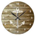 Ancla náutica en el gráfico de madera reloj de pared