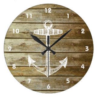 Ancla náutica en el gráfico de madera reloj redondo grande