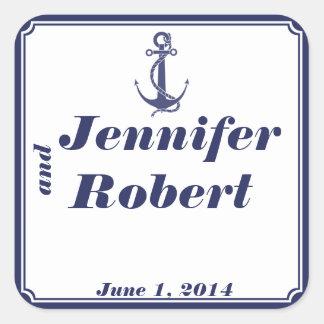 Ancla náutica en el sello del sobre de la marina calcomanía cuadradase