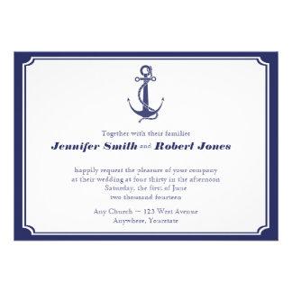 Ancla náutica en la invitación del boda de la mari