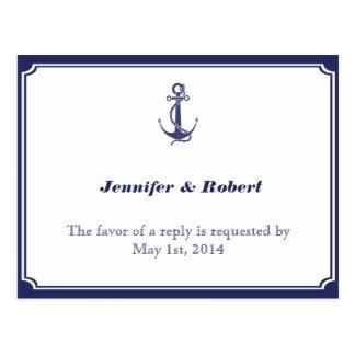 Ancla náutica en la postal de RSVP de la marina de