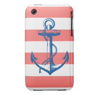 Ancla náutica en las rayas coralinas Case-Mate iPhone 3 cobertura