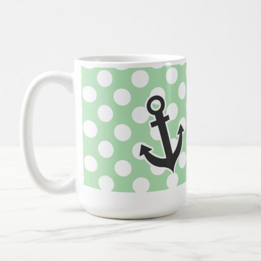Ancla náutica en lunares del verde del Celadon Tazas De Café