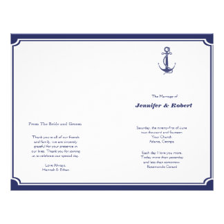 Ancla náutica en programa del boda de la marina de tarjetas informativas