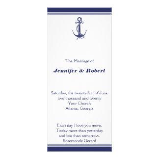 Ancla náutica en programa del boda de la marina de lonas publicitarias