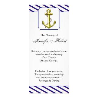 Ancla náutica en programa del boda de la raya azul tarjeta publicitaria a todo color