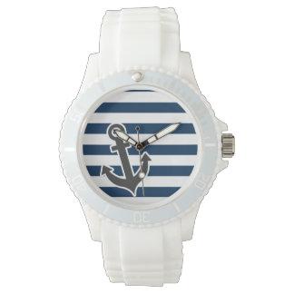 Ancla náutica en rayas azules de medianoche reloj