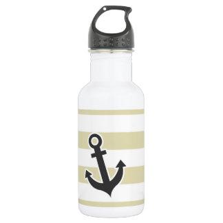 Ancla náutica en rayas beige; Rayado