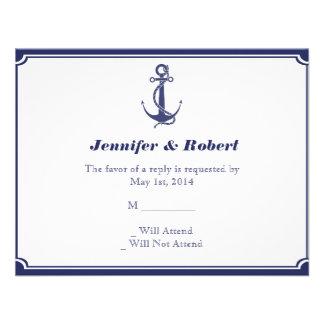 Ancla náutica en tarjeta de la respuesta de la mar comunicado