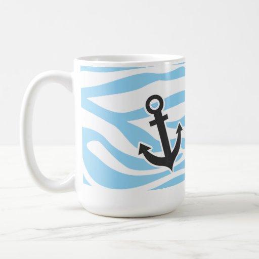 Ancla náutica; Estampado de animales de la cebra d Taza De Café