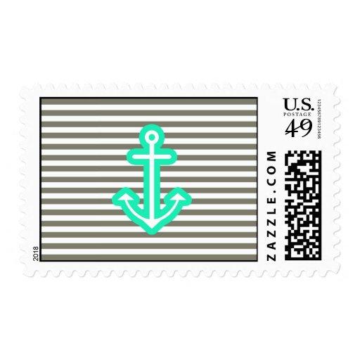 Ancla náutica gris de la menta timbre postal