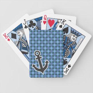 Ancla náutica; Lunares azules Baraja Cartas De Poker