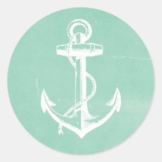 Ancla náutica pegatina redonda