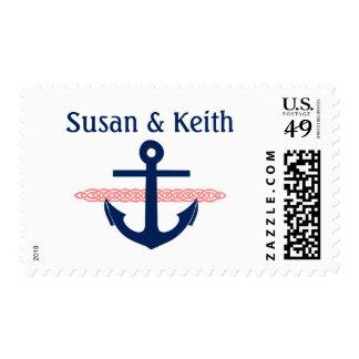 Ancla náutica personalizada casando la invitación sello postal