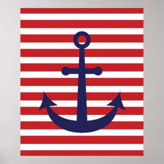 Ancla náutica rayada póster